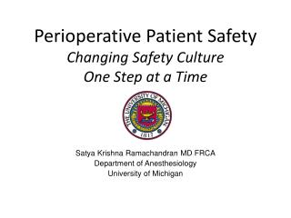 Perioperative Patient Safety Changing Safety Culture One Step at a Time