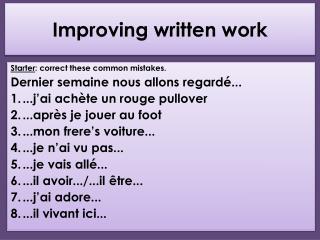 Improving written work