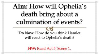 Aim:  How will Ophelia's death bring about a culmination of events?