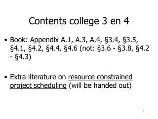 Contents college 3 en 4