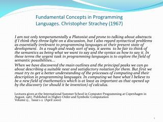 Fundamental Concepts in Programming Languages. Christopher Strachey (1967)