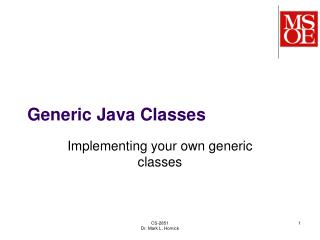 Generic Java Classes