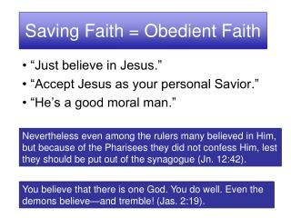 Saving Faith = Obedient Faith