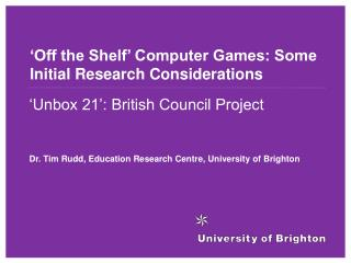 'Off the Shelf' Computer Games: Some Initial Research Considerations