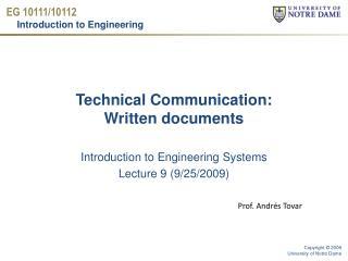 Technical Communication:  Written documents