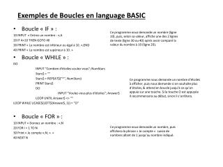 Exemples de Boucles en  language  BASIC