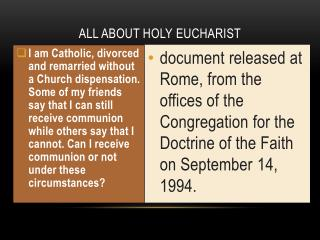 ALL ABOUT HOLY  eucharist