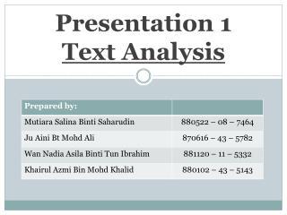 Presentation 1 Text Analysis