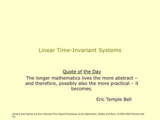 Linear Time-Invariant Systems