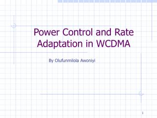 Power Control and Rate Adaptation in WCDMA