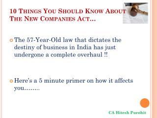 10  Things You Should Know About  The  New Companies  Act…