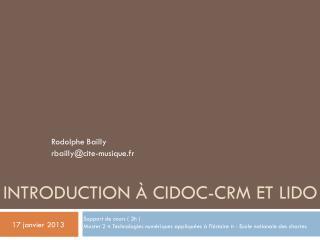 Introduction à CIDOC-CRM et LIDO