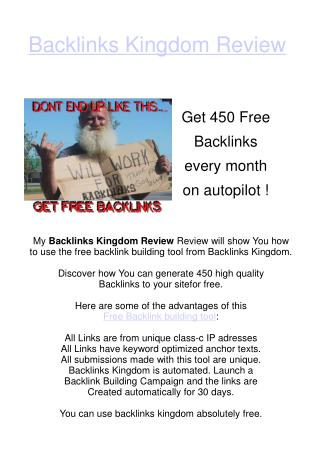 Backlinks Kingdom - Review of Free Link Building Tool