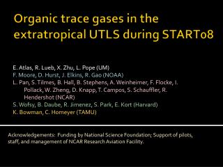 Organic trace gases in the extratropical UTLS during START08