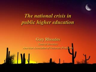 The national crisis in public higher education