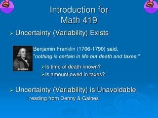 Introduction for Math 419