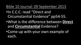 Bible 10 Journal:  09  September 2013