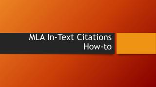 MLA  In-Text Citations  How-to