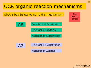 OCR organic reaction mechanisms
