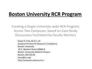 Boston University RCR Program