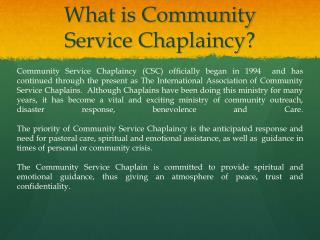 What is Community Service Chaplaincy?