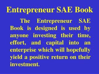 Entrepreneur SAE Book