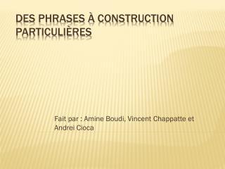 Des phrases à construction  particulières