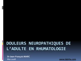 Douleurs Neuropathiques en Rhumatologie