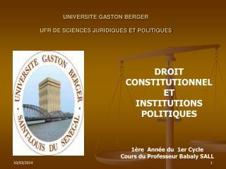 UNIVERSITE GASTON BERGER UFR DE SCIENCES JURIDIQUES ET ...