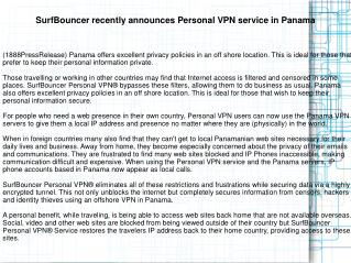 SurfBouncer recently announces Personal VPN service in Panam