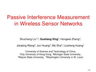 Passive Interference Measurement in Wireless Sensor Networks