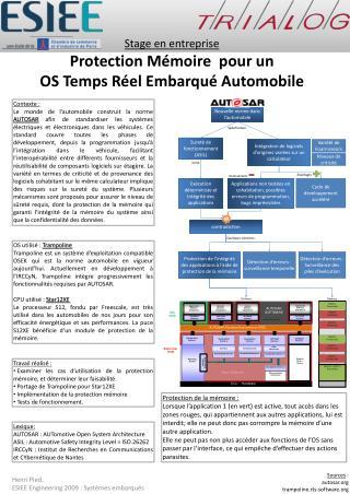 Stage en entreprise Protection Mémoire  pour un  OS Temps Réel Embarqué Automobile