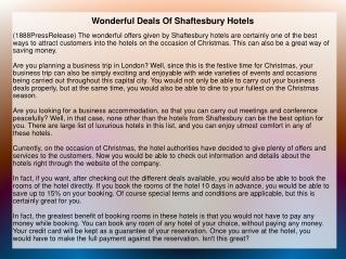 Wonderful Deals Of Shaftesbury Hotels