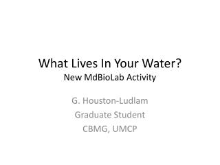 What Lives In Your Water? New  MdBioLab  Activity