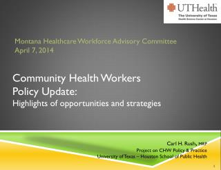 Community Health  Workers Policy Update: Highlights of opportunities and strategies