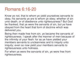 Romans 6:16-20