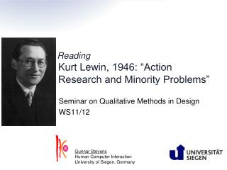 Reading Kurt  Lewin , 1946: �Action Research and Minority Problems�
