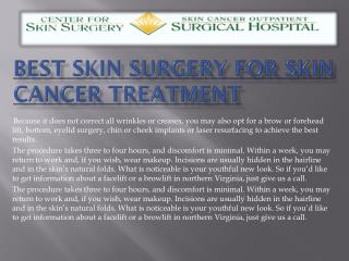 Best Skin Surgery for Skin Cancer Treatment