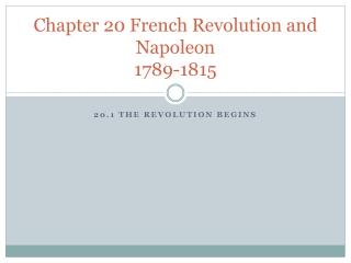 Chapter 20 French Revolution and Napoleon 1789-1815
