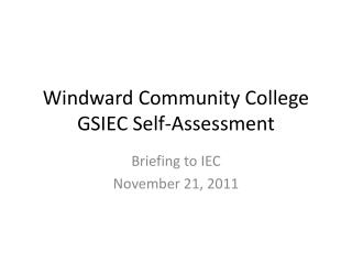 Windward Community College GSIEC Self-Assessment