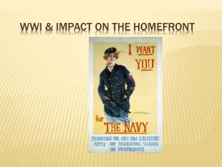 WWI & Impact on the  Homefront