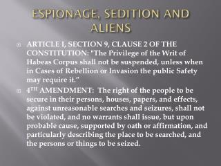 ESPIONAGE, SEDITION AND ALIENS