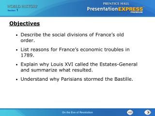 Describe the social divisions of France's old order.