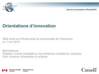 Orientations d'innovation