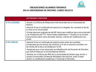 OBLIGACIONES ALUMNOS ERASMUS EN LA UNIVERSIDAD DE DESTINO. CURSO 2012/13