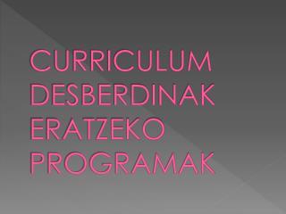 CURRICULUM DESBERDINAK ERATZEKO PROGRAMAK