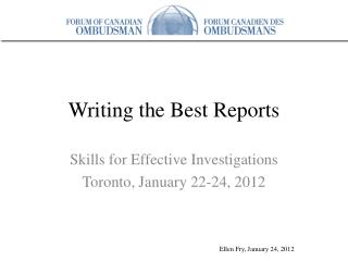 Writing the Best Reports