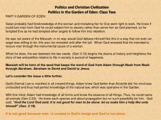 Politics and Christian Civilization  Politics in the Garden of Eden: Class Two