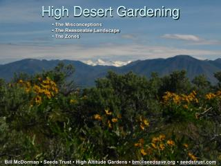 High Desert Gardening Bill McDorman   Seeds Trust   High ...