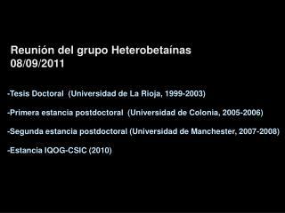 Reunión  del  grupo Heterobetaínas  08/09/2011